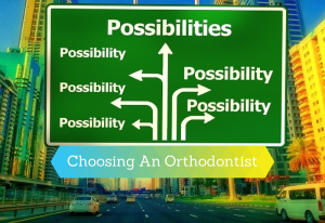 Choosing an Orthodontist graphic that looks like a road sign